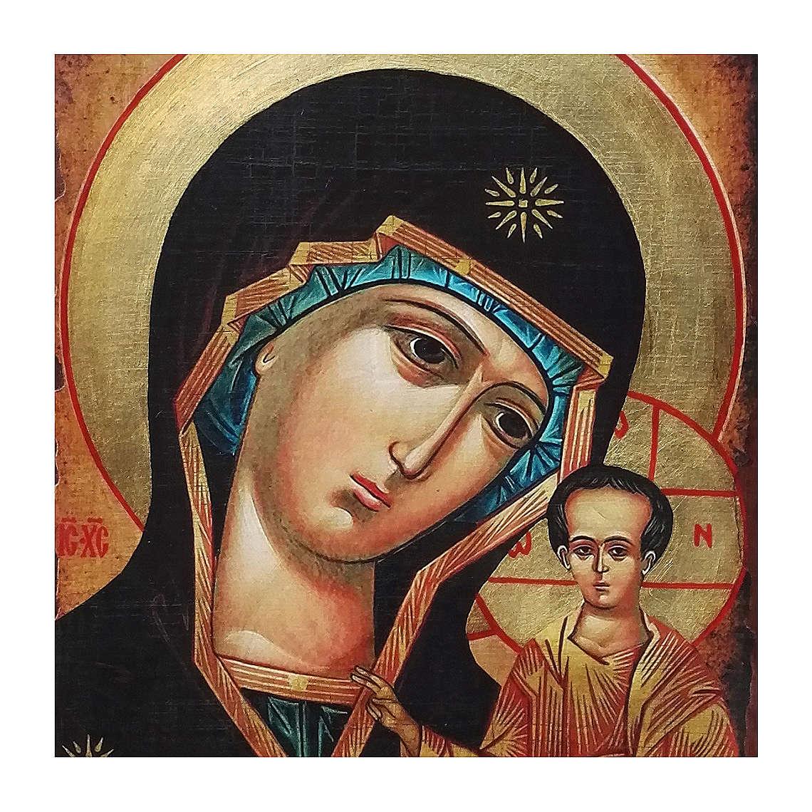 Icona russa dipinta découpage Madonna di Kazan 30x20 cm 4
