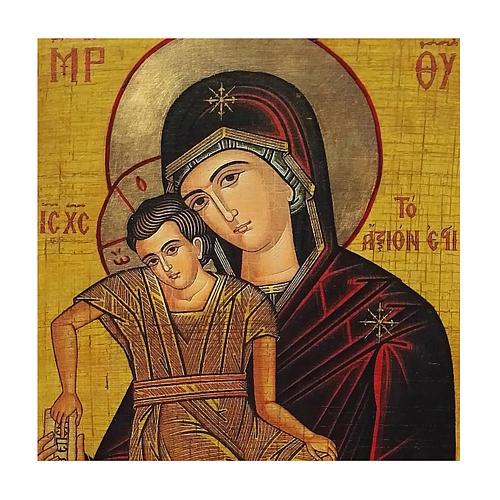 Icona russa dipinta découpage Madonna Veramente Degna 30x20 cm 2