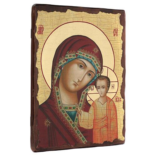 Icono ruso pintado decoupage Virgen de Kazan 40x30 cm 3