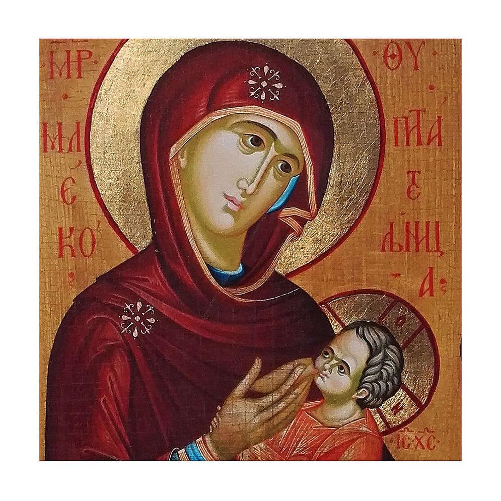 Icono ruso pintado decoupage Virgen que amamanta 40x30 cm 4