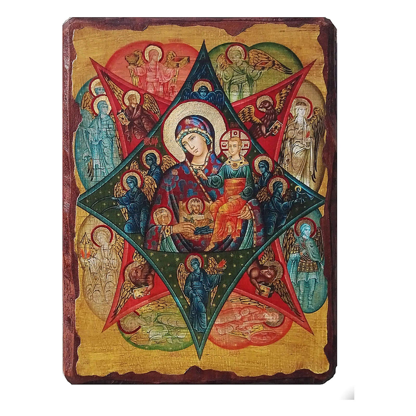 Russian icon Virgin of the Burning Bush, painted and decoupaged 40x30 cm 4