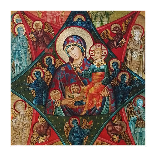 Russian icon Virgin of the Burning Bush, painted and decoupaged 40x30 cm 2