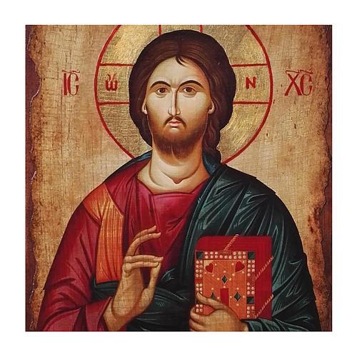 Icona russa dipinta découpage Cristo Pantocratore 40x30 cm 2