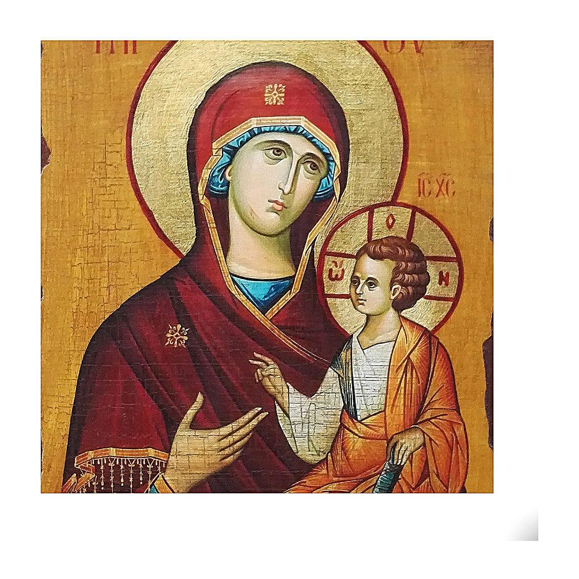 Icono ruso pintado decoupage Odigitria de Smolensk 40x30 cm 4