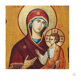 Icono ruso pintado decoupage Odigitria de Smolensk 40x30 cm s2