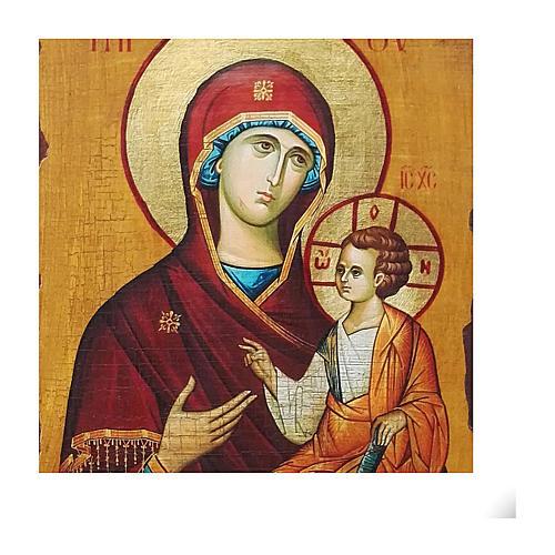 Icono ruso pintado decoupage Odigitria de Smolensk 40x30 cm 2