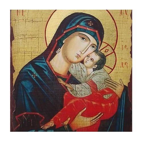 Icona Russia dipinta découpage Madonna del bacio dolce 40x30 cm 2