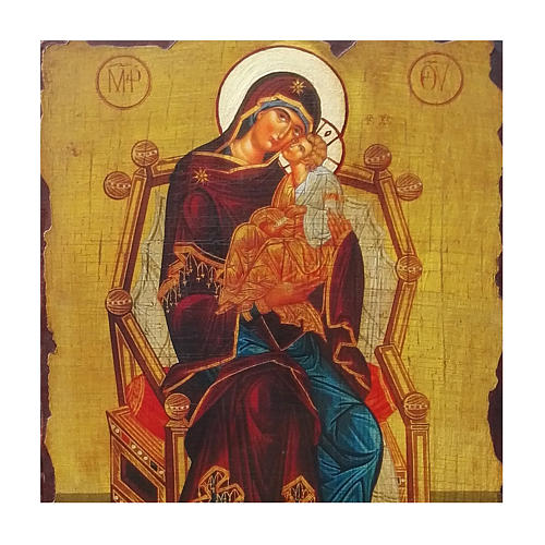 Icono ruso pintado decoupage de la Madre de Dios Pantanassa 40x30 cm 2