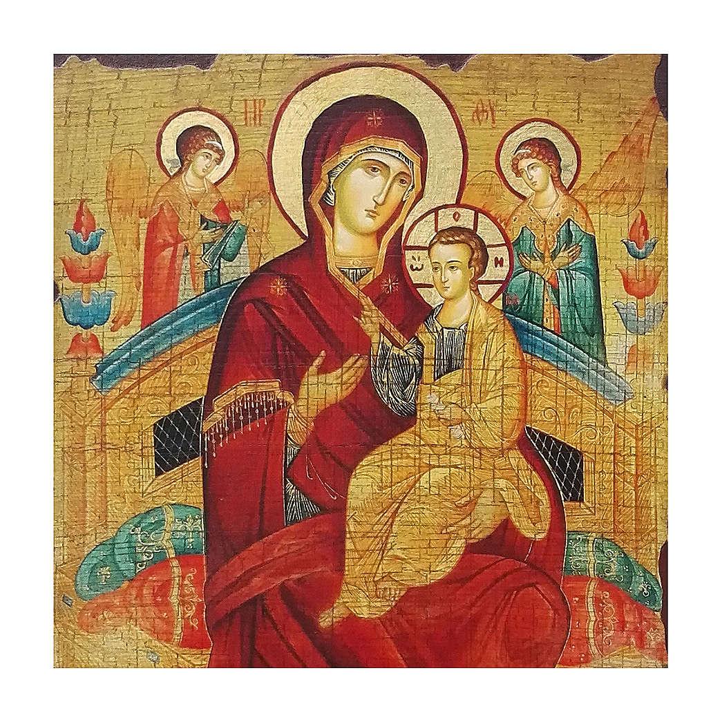 Icona russa dipinta découpage Madre di Dio Pantanassa 30x20 cm