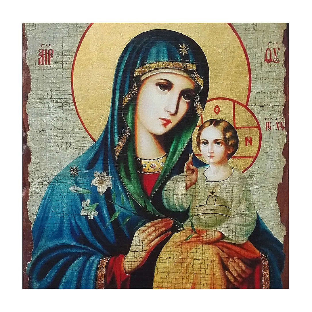 Icona russa dipinta découpage Madonna del Giglio Bianco 40x30 cm 4