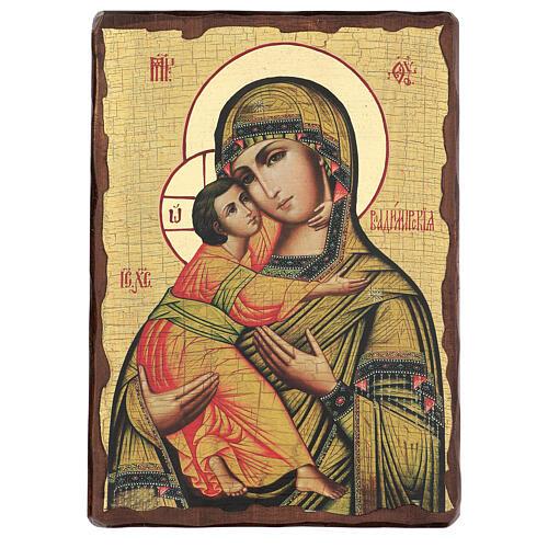 Icono ruso pintado decoupage Virgen de Vladimir 40x30 cm 1