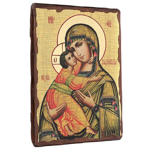 Icono ruso pintado decoupage Virgen de Vladimir 40x30 cm 3