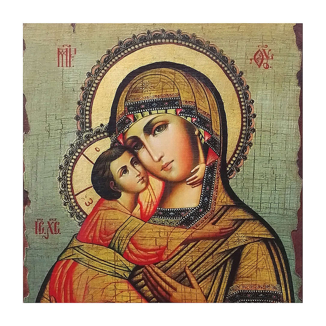 Icona Russia dipinta découpage Madonna di Vladimir 40x30 cm 4