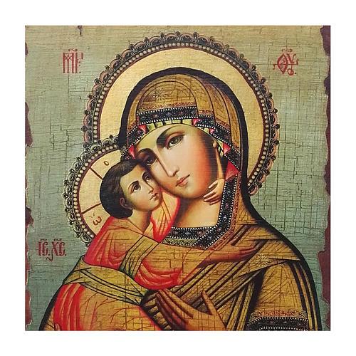 Icona Russia dipinta découpage Madonna di Vladimir 40x30 cm 2