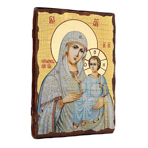 Icono ruso pintado decoupage Virgen de Jerusalén 40x30 cm 3