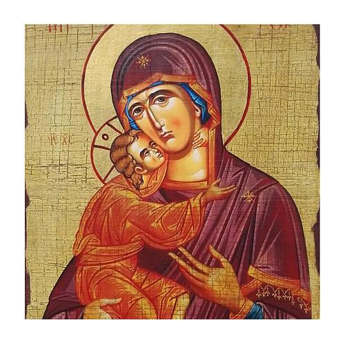Icono ruso pintado decoupage Virgen de Vladimir 40x30 cm 2