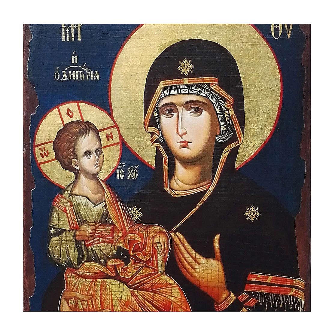 Icono ruso pintado decoupage Virgen de las tres manos 40x30 cm 4