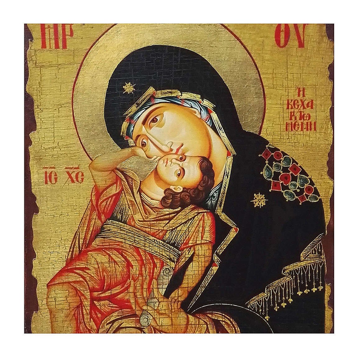 Russian icon Virgin Eleousa, painted and decoupaged 40x30 cm 4