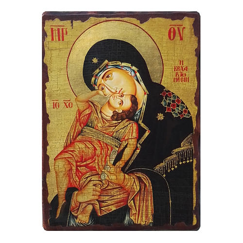 Russian icon Virgin Eleousa, painted and decoupaged 40x30 cm 1
