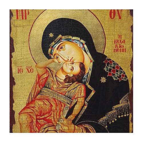 Icono ruso pintado decoupage Virgen Eleousa 40x30 cm 2