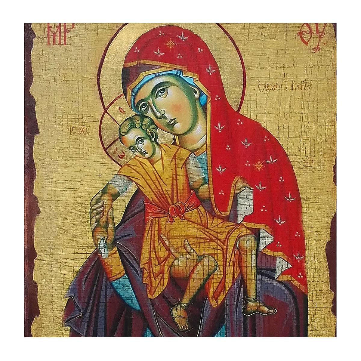 Icona russa dipinta découpage Madonna Kikkotissa 40x30 cm 4