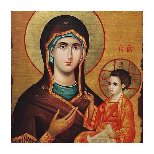 Icône russe peinte découpage Vierge Hodigitria 40x30 cm