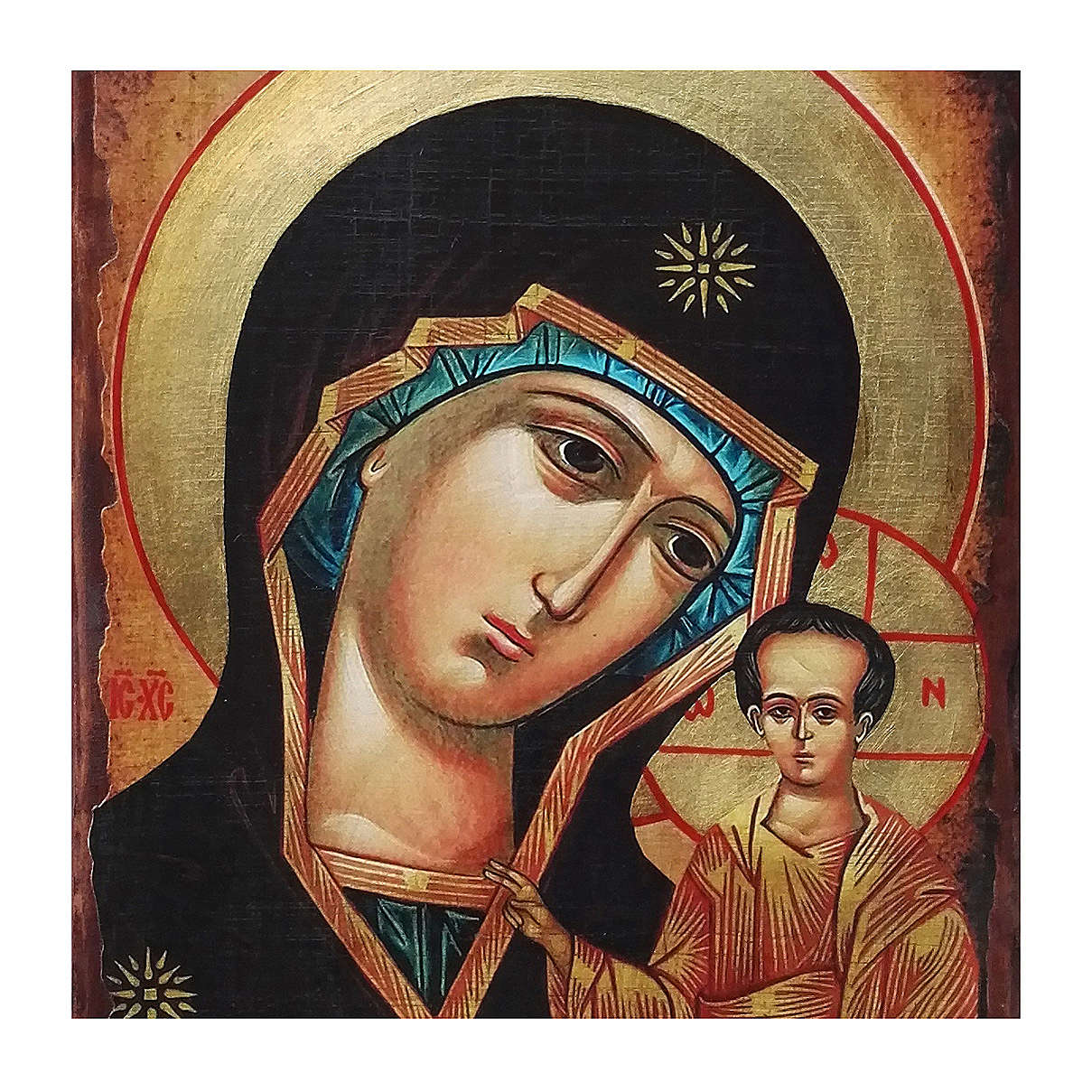 Icona Russia dipinta découpage Madonna di Kazan 40x30 cm 4
