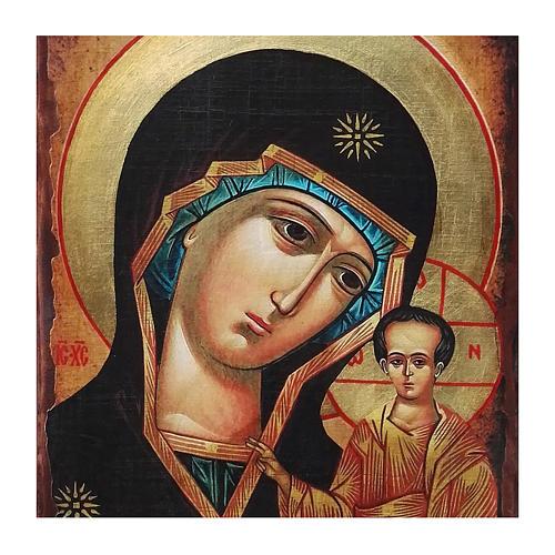Icona Russia dipinta découpage Madonna di Kazan 40x30 cm 2