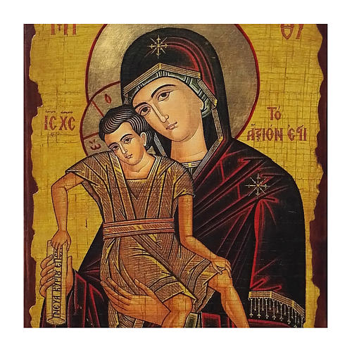 Icono ruso pintado decoupage Virgen Verdaderamente Digna 40x30 cm 2