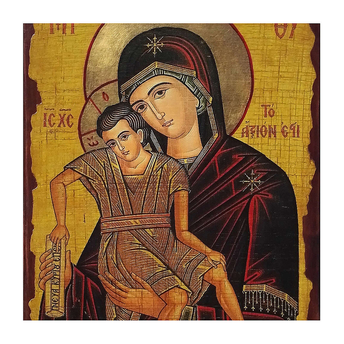 Mother of God the Worthy icon Russian painted decoupage 40x30 cm 4