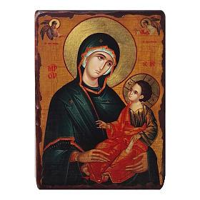 Icônes imprimées sur bois et pierre: Icône russe peinte découpage Vierge Gregorousa 10x7 cm