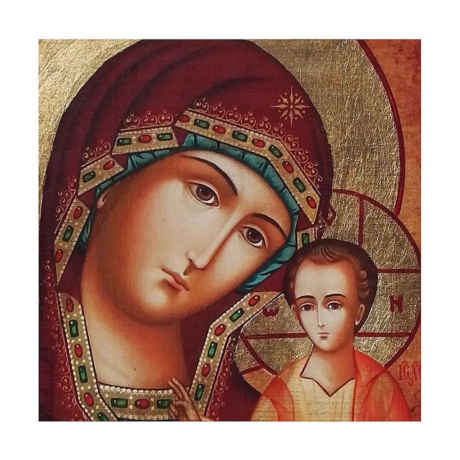 Icono ruso pintado decoupage Virgen de Kazan 10x7 cm 4