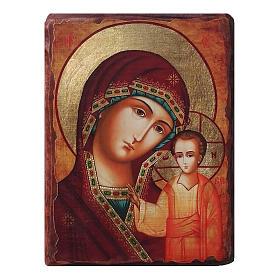 Icônes imprimées sur bois et pierre: Icône russe peinte découpage Vierge de Kazan 10x7 cm