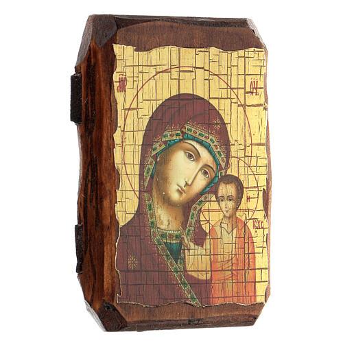 Icona russa dipinta découpage Madonna di Kazan 10x7 cm 2