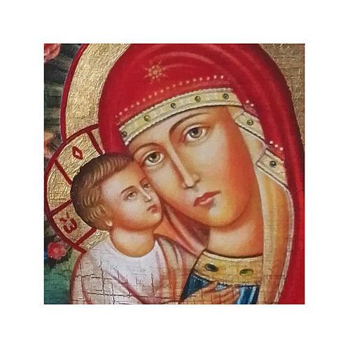 Icono Rusia pintado decoupage Virgen Zhirovitskaya 10x7 cm 2