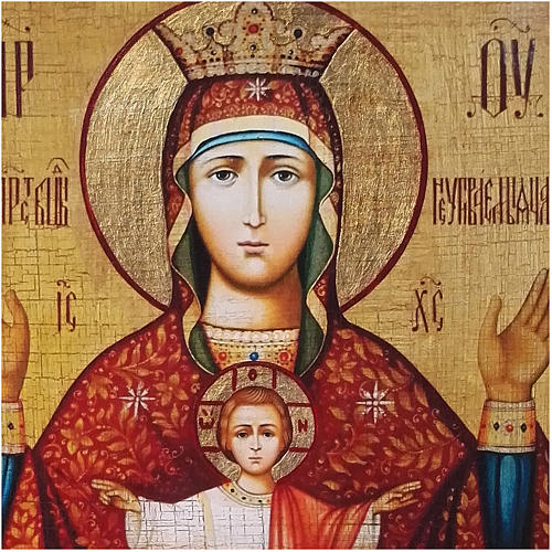 Icono ruso pintado decoupage Copa Infinida 10x7 cm 2