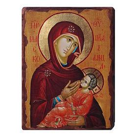 Icônes imprimées sur bois et pierre: Icône russe peinte découpage Vierge allaitant 10x7 cm