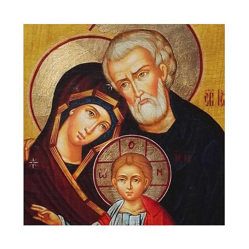 Icono Rusia pintado decoupage Sagrada Familia 10x7 cm 4
