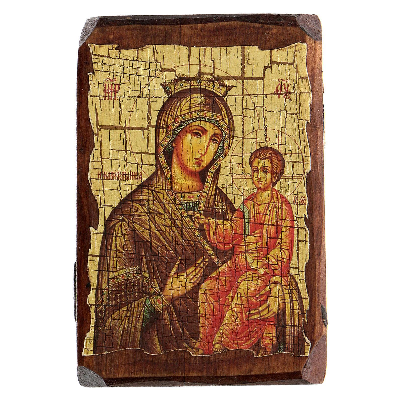 Icona russa dipinta découpage Panagia Gorgoepikoos 10x7 cm 4