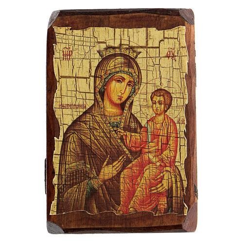 Icona russa dipinta découpage Panagia Gorgoepikoos 10x7 cm 1