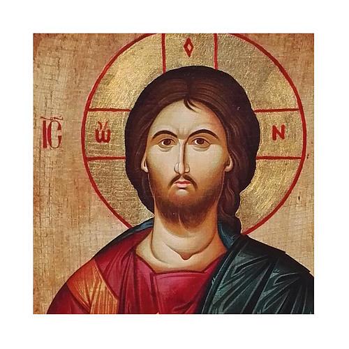 Icona russa dipinta découpage Cristo Pantocratore 10x7 cm 2