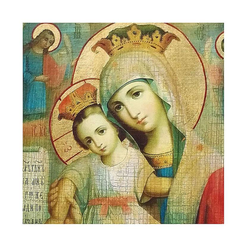 Ícone russo decoupáge e pintura Mãe de Deus Axion Estin 10x7 cm 4