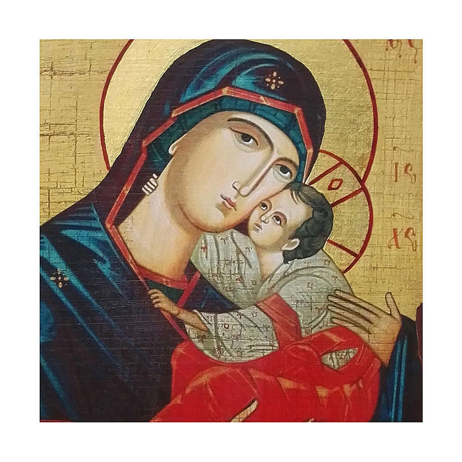 Icona russa dipinta découpage Madonna del bacio dolce 10x7 cm 4