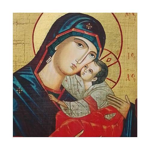 Icona russa dipinta découpage Madonna del bacio dolce 10x7 cm 2