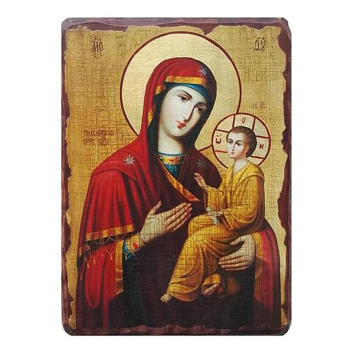 Ícone russo decoupáge e pintura Mãe de Deus Tikhvinskaya 10x7 cm 1