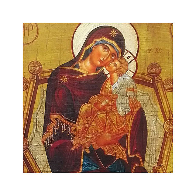 Icona russa dipinta découpage della Madre di Dio Pantanassa 10x7 cm 4