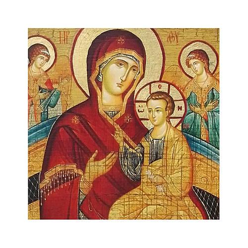 Icono ruso pintado decoupage Madre de Dios Pantanassa 10x7 cm 2
