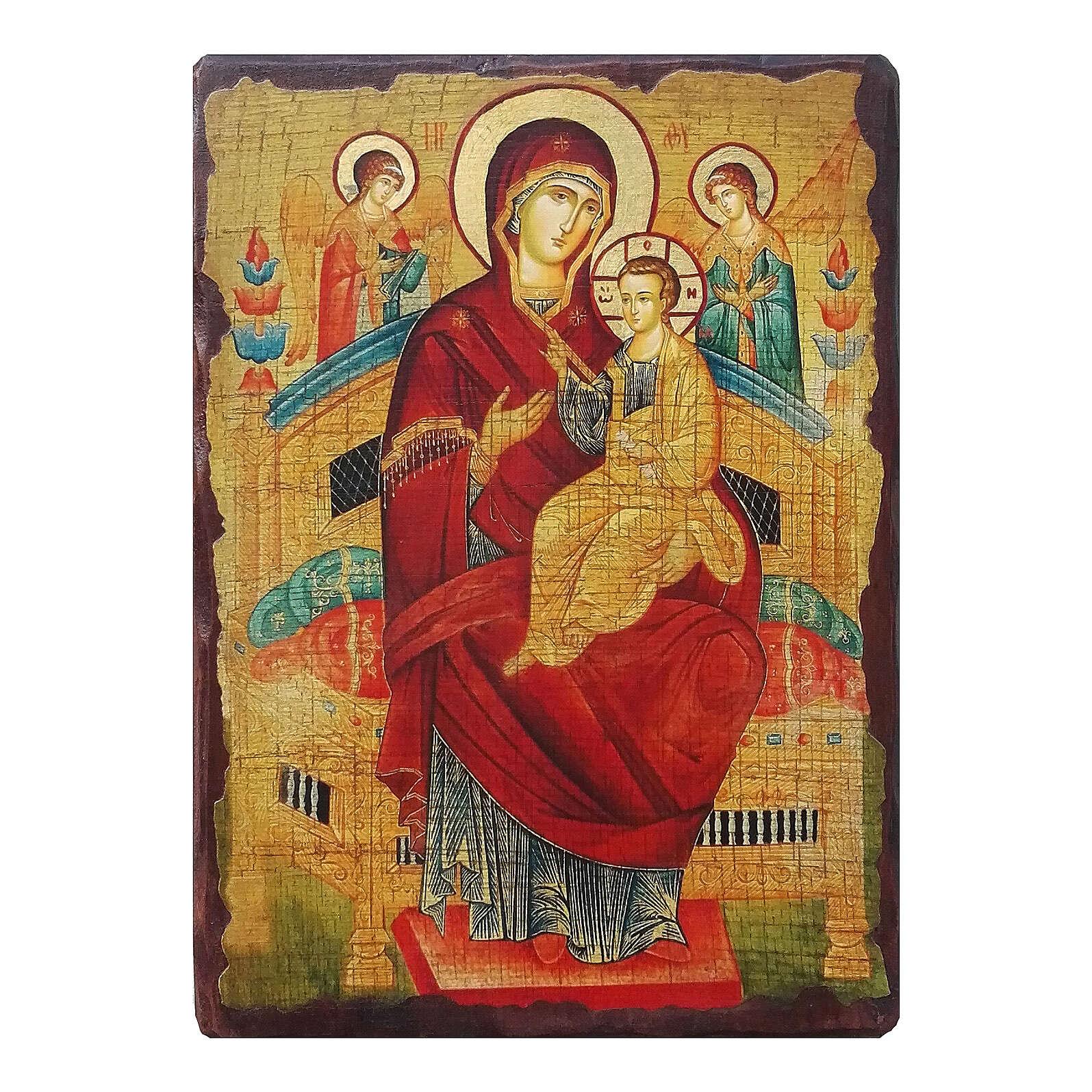 Russian icon painted decoupage, Pantanassa Mother of God 10x7 cm 4