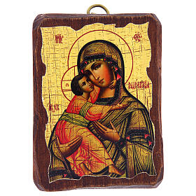 Russian icon Our Lady of Vladimir, painted and decoupaged 10x7 cm s1