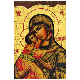 Russian icon Our Lady of Vladimir, painted and decoupaged 10x7 cm s2